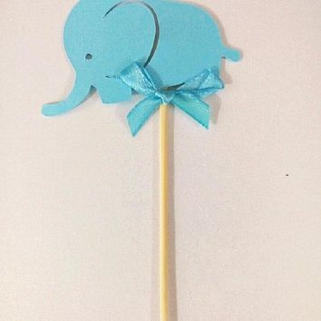 cake toppers blue elephant paper cards banner for Cupcake Wrapper Baking Cup birthday tea party wedding decor baby shower Wh