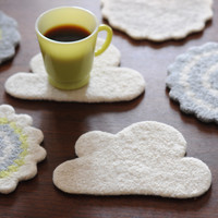 Wooly Felt Cloud Fiber Art - Coaster/Trivet