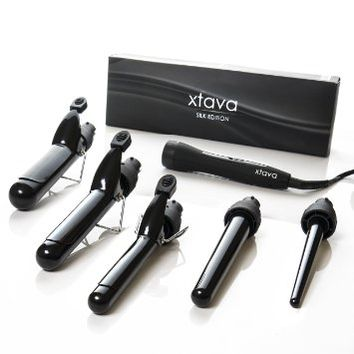 xtava Satin Wave 5-in-1 Curler - Professional Curling Iron Set with Interchangeable Tourmaline Ceramic Barrels - Salon-Grade Tool Offers Maximum Versatility