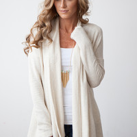 French Terry Cardigan- Ivory