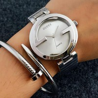 GUCCI Woman Men Fashion Watch Business Watches Wrist Watch Silver I-Fushida-8899