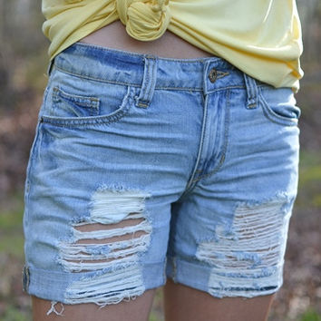 Cuff Love Denim Shorts