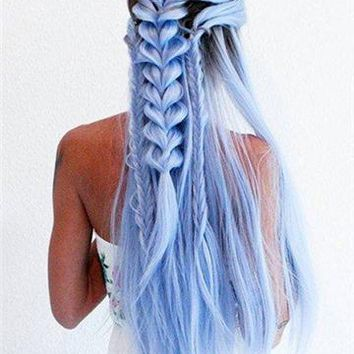 Light Cerulean Long Synthetic Lace Front Wig