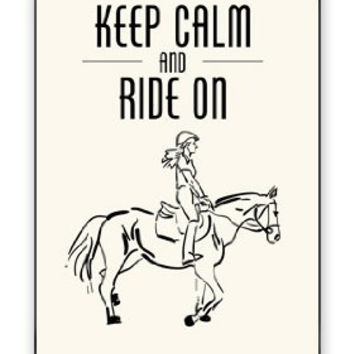 Horse Pony Equestrian Keep Calm And Ride On iPhone 4 Quality Hard Snap On Case for iPhone 4 4S 4G - AT&T Sprint Verizon - White Case Cover