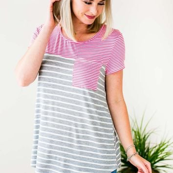 Casual Intentions Stripe Pocket Tee