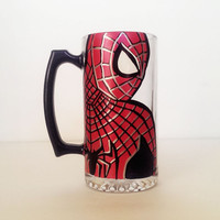 Spider Man Beer mug - hand painted - very detailed and high quality