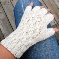 White fingerless gloves, hand knitted half finger gloves arm warmers / wrist warmers, winter accessories