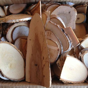 Natural Wood Pieces - Mixed Box Mini, Large, Medium Log, Slices and Chunks - Classroom Art Projects, Rustic Wedding Party Decor