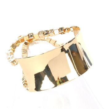 """1.30"""" wide gold curved cuff anklet multi link chunky cube beads"""