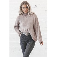 Blow A Kiss Mauve Chenille Turtleneck Sweater