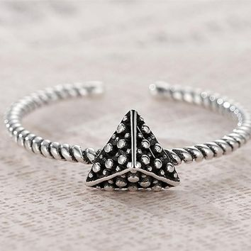 VOROCO Real 925 Black Triangle pyramid Twisting Geometric Rings Puck Style Adjustable Open Rings for Women Weeding Gift VSR049