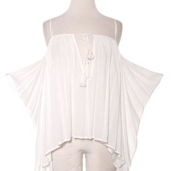 POETIC OPEN SHOULDER TASSEL ACCENT BLOUSE - IVORY