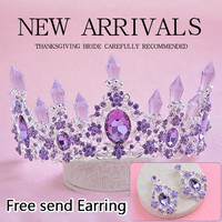 2016 New Arrival Charming Purple Crystal Bridal crown tiaras Magnificent Rhinestone Diadem for Princess Wedding Hair Accessories