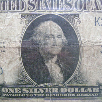1923 US American Large Sized AKA Horse Blanket Size Note One 1 Dollar Bill Silver Certificate Blue Seal  FR 237 Speelman White Signatures