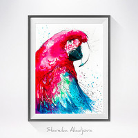 Macaw Parrot watercolor painting print, bird watercolor, Parrot illustration, Parrot art, Macaw  painting, bird art, bird print