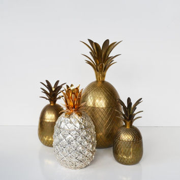 Vintage Brass Pineapple L A R G E Hollywood Regency Brass Pineapple Box Pineapple Candle Holder Mid Century Barware
