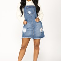 Country Song Overall Dress - Blue