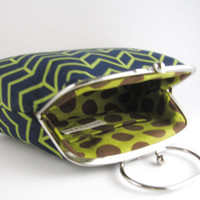 Frame Clutch bag with Handle- green chevron pattern in navy blue