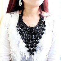 Vintage Black Beads Lace Pendant Necklace