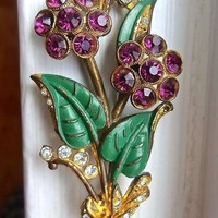 Art Deco Flower Bouquet Brooch, Purple Paste Stones, Enamel, Rhinestones, Antique
