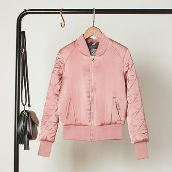 Solid Colored Quilted Baseball Bomber Jacket