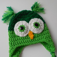 Owl Baby Hat - Greens
