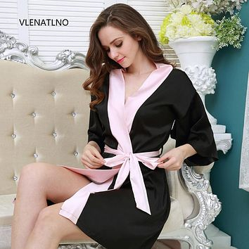Large Size Satin Night Robe Lace Bathrobe Perfect Wedding Bride Bridesmaid Robes Dressing Gown For Women