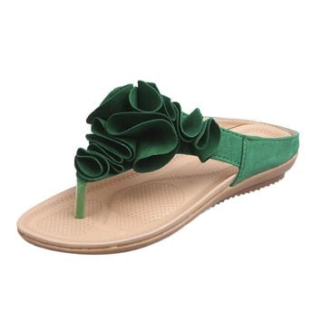 ZOMUSAR Sandals Slippers, Women's Summer Beach Flip Flops Slippers Casual Flat Shoes Lady Pretty Floral Sandals