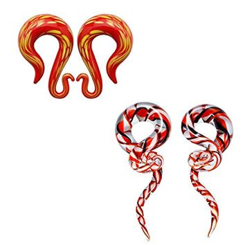 "BodyJ4You Glass Taper Swirl Lava Plugs Ear Gauges 9/16""-14mm Treble Hanger 6PCS"