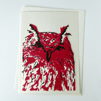 Screen printed and ink drawing Note Card  - Red Owl Greeting Card, realistic owl drawing card
