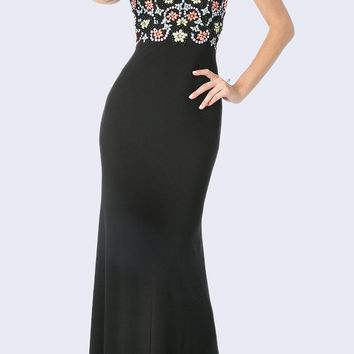 Halter Bead Embellished Long Prom Dress Black
