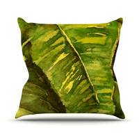"Rosie Brown ""Tropical Garden"" Leaf Green Outdoor Throw Pillow"