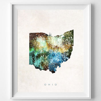 Ohio Map, Columbus Poster, Painting, Watercolor, Nursery, Room, Home Town, Wall Art, USA, United States, Decor, Gift [NO 370]