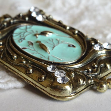 1- Bird Locket Necklace Magnetic Money Clip Pendant Two Photo Holding Hand Painted Teal Pendant Vintage Style Bird Jewelry Necklace Inv0071