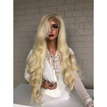 """Blonde Hair SWISS Lace Frontal Wig 30"""" with 360 All Around Multiple Parting Always Hold Me Closely 319 35"""