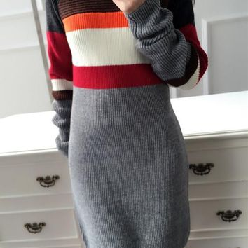 New Women Grey Patchwork Buttons Round Neck Long Sleeve Mini Dress