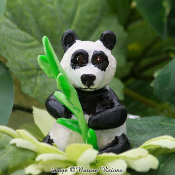 Cute Panda Sculpture Miniature Bear Figurine by NatureVisions