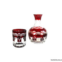 1880s Bedside Carafe & Tumbler, Cranberry Glass Guest Room Set Faceted Pattern, Antique Victorian Elegance