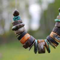 Ethnic Necklace / African Jewelry / Amber & Turquoise / Brown Yellow Black Green Teal / Forest Green / Nature Harmony / Yoga Fashion