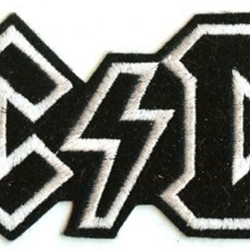 AC/DC Iron-On Back Patch Black And White Logo