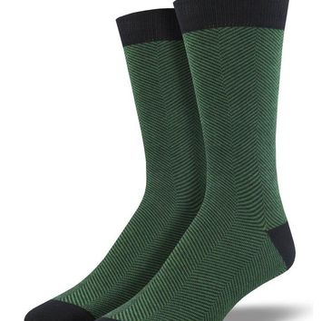 Men's Bamboo Green Herringbone Socks