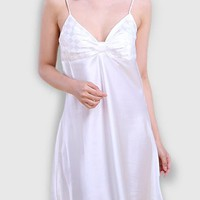 Casual Spaghetti Strap Geometric Satin Nightgown