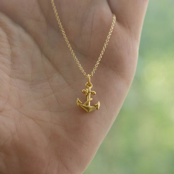 Gold Tiny Anchor Necklace - 24K Gold-Dipped Bronze Anchor Charm on 14K Gold-Filled Chain . Nautical Gift Ideas for Her . Bridesmaid Necklace