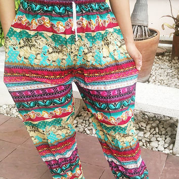 Elephants Printed Yoga Pants Hippie Baggy Boho Style Gypsy Thai Pantalon Tribal Hipster Plus Size Aladdin Clothing Beach Baggy Unisex Zen