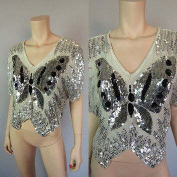 Vintage 80s Mint Green Sheer Silk Sequin Butterfly Top Silver Beaded Disco Batwing Deco Draped Glam Blouse Boho