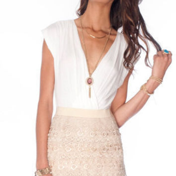 Macrame Eye Combo Dress in Ivory Beige :: tobi