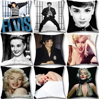 Elvis Presley Cotton Linen Cushion Cover Marilyn Monroe Audrey Hepburn Michael Jackson Chair Waist Square Pillow Cover Homing