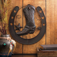 "Rustic Cast Iron Cowboy Boot Horseshoe Wall Decor 15.75""H"