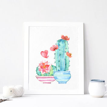 Cactus Love, Succulent, Butterfly, Plant Garden Art, Aquarelle Flowers, Positive, Inspirational Print Printable, Watercolor, DOWNLOAD 8x10