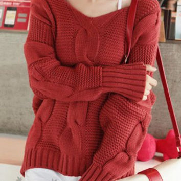 Red Bat-wing Sleeve Sweater Pullover